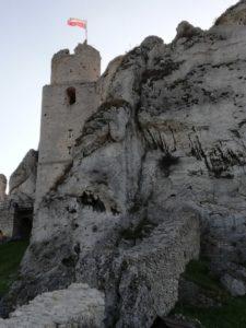 Zamek Ogrodzieniec mur i skały 576x768